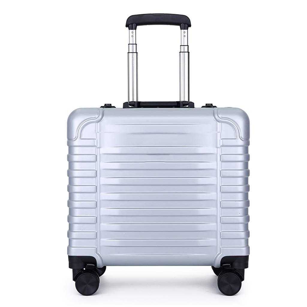 ZHAOSHUHLI スーツケース旅行トロリーケース荷物ユニバーサルホイールスモール搭乗女性ミニ16インチトロリーケース男性スーツケース (色 : シルバー しるば゜)  シルバー しるば゜ B07QZJ3HNM