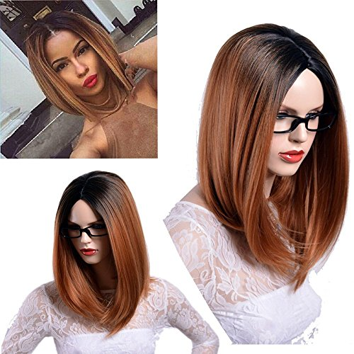 Finders News 14 Inch Ombre Blonde Medium Straight Wigs Black to Brown Straight Heat Resistant Synthetic Wigs For (E News Halloween 2017)
