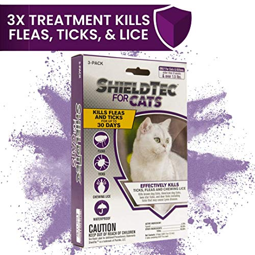 ShieldTec Flea and Tick Prevention for Cats, Over 1.5 lbs, 3 Months, 3 Doses