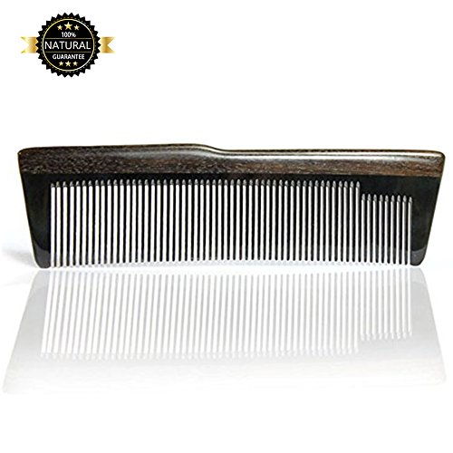Hair Combs,beard combs, wood combs for women girl and men 100% Handmade natural materials Casual mix of black Horn and dark sandalwood good smell with case holder thin tooth anti static travel (15N) ()