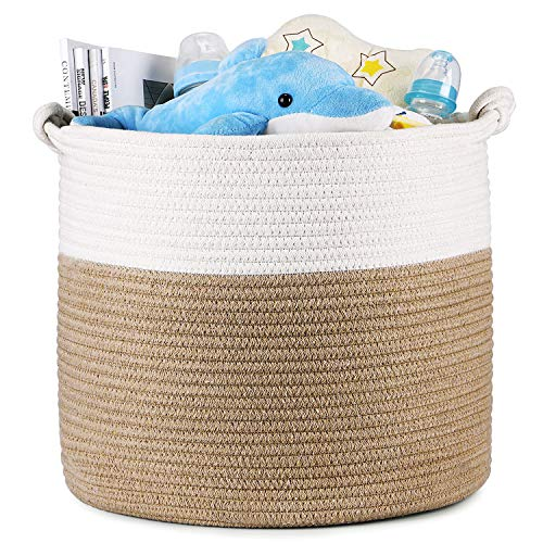 Magicfly Cotton Rope Baskets, 15 X 15 X 14 Inch Large Baby Nursery Basket for Laundry, Toys, Woven Blankets Basket in Baby Nursery or Kids Room, Beige & White ()
