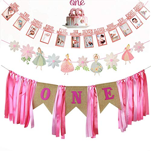 GoodYH 1st Birthday Decorations for Girl |1st Birthday ONE High Chair Banner | First Birthday Cake Topper | First Birthday Month Photo Banner | Princess & Flower Shape Birthday Party -