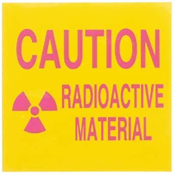 """Brady 89112 2-1/4"""" Width x 2-1/4"""" Height B-302 Polyester, Pink on Yellow Radiation and Laser Sign, """"Caution Radioactive Material"""" (with Picto)"""