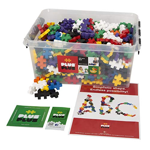Plus-Plus BIG - Preschool Construction Building Toy, Open Play Set - 600 Pieces with Storage Tub - Basic Color Mix ()