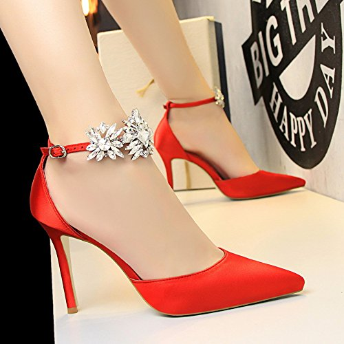 alto strass donna sexy Rosso Colore 40 fibbia Dimensione con Scarpe Fuxitoggo tacco con EU scarpe Rosso 4Eqz0wxTtn