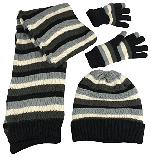 N'Ice Caps Women's Striped Knit Hat Scarf Touchscreen Glove 3PC Fleece Lined Set (Women's Medium/Large/X-Large, Black/Bungee Grey/Winter ()