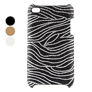 Glittery Zebra Strips Hard Case for iPod Touch 4 (Assorted Colors) --- COLOR:White