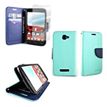 CoverON® for Alcatel One Touch Fierce 2 / Pop Icon Wallet Case [CarryAll Series] Flip Credit Card Phone Cover Pouch with Screen Protector and Wristlet Strap - Teal/navy