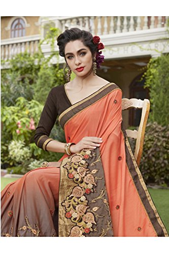 Usura Indiani Sari Sari Facioun Partito Da Donne Tradizionale Progettista Le Di Per Arancione Nozze Marrone WB1nnv