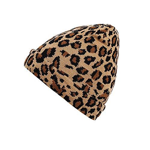 (Honhui Unisex Men Women Cotton Leopard Crochet Hat Winter Knit Hat Warm)