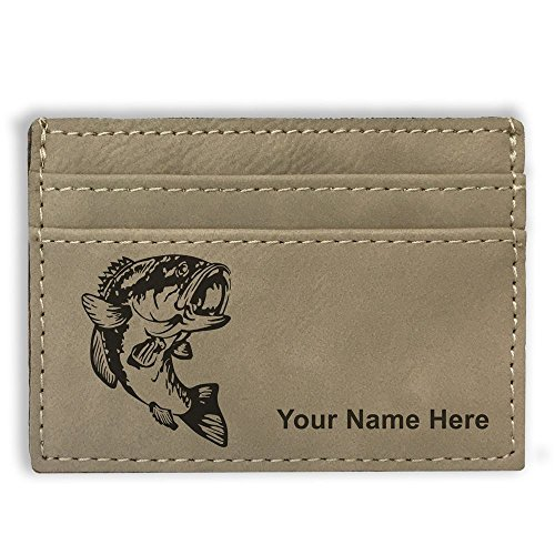 - Money Clip Wallet - Bass Fish - Personalized Engraving Included (Light Brown)