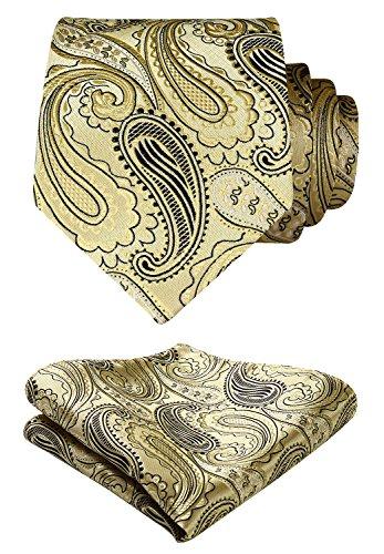HISDERN Paisley Floral Wedding Tie Handkerchief Woven Classic Men's Necktie & Pocket Square Set,Gold / Black,One Size