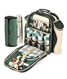 Greenfield Collection Super Deluxe Forest Green Picnic Backpack Hamper for Four People with Matching Picnic Blanket