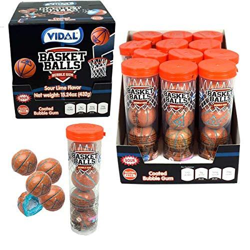 Vidal Basketball Sour Bubble Gum, 12 Tubes, (4) Gumballs in each Tube ()