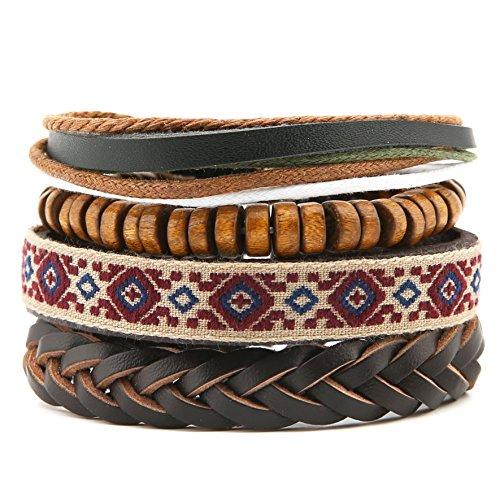 HZMAN Mix 4 Wrap Bracelets Men Women, Hemp Cords Wood Beads Ethnic Tribal Bracelets, Leather Wristbands (SZ7506P)