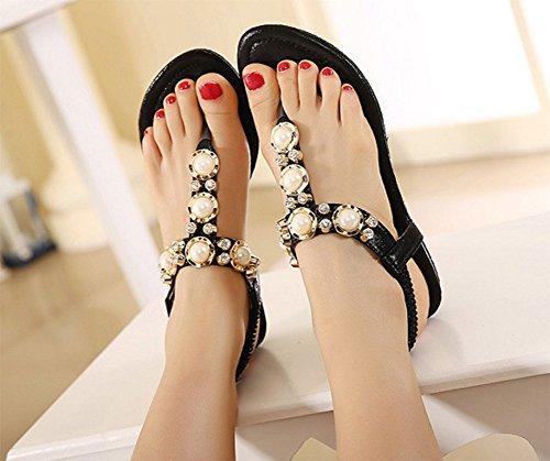 Chfso Mujeres Rhinestones Moldeados Metal Boho Wedges T-strap Sandalias Zapatos Negro