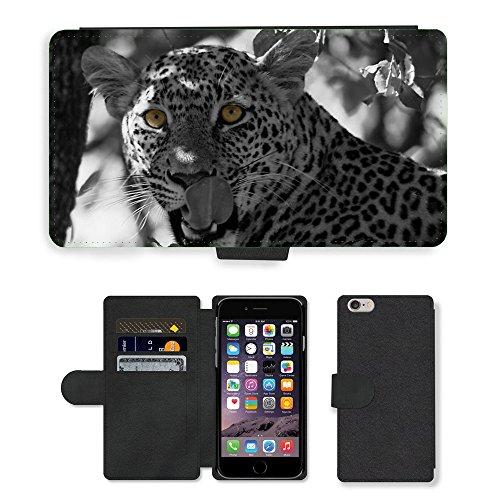 "Just Phone Cases PU Leather Flip Custodia Protettiva Case Cover per // M00129253 Nissan Leopard Panthera pardus // Apple iPhone 6 PLUS 5.5"""