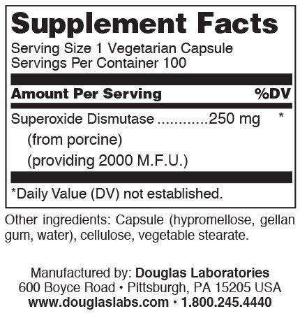 Douglas Laboratories - SOD Superoxide Dismutase - Superoxide Dismutase from Liver Extract - 100 Capsules Discount