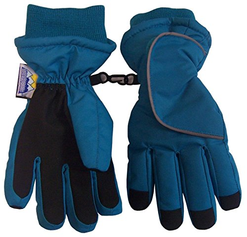 N'Ice Caps Kids Easy On Thinsulate and Waterproof Velcro Wrap Gloves (5-6yrs, Turquoise)