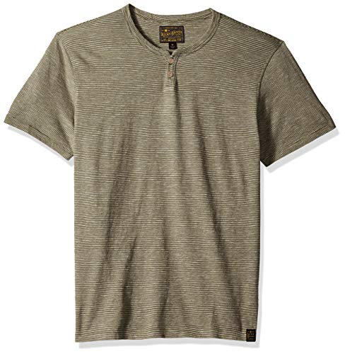 Lucky Brand Men's Casual Short Sleeve Stripe Notch Neck TEE, Ivy Green, S