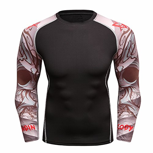 Fanii Quare Men's Soft Slim Long Sleeve Dry-Fit Compression Gym Trainning Shirt Desert Dust M -