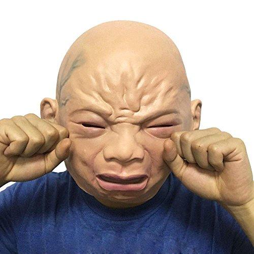 Molagogo Cosplay Cry Baby, Novelty Halloween Costume Party Latex Full Head Masquerade Mask Crying Baby -