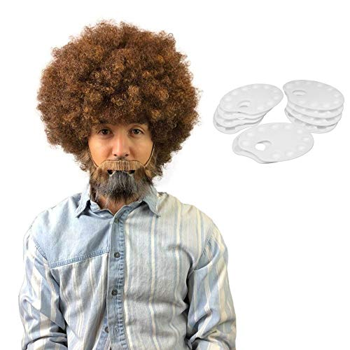 80's Painter Afro Wig with Full Beard and Mustache Set, Adult & Kids Sizes (Kids, Wig with Palette) ()