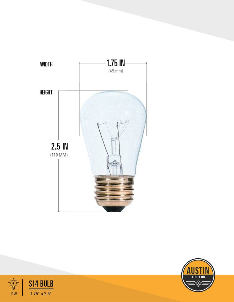 Pack Of 25 S14 11 Watt Glass Light Bulbs Clear By Austin Ac Wiring Diagram Co Warm Incandescent Replacement Idea For String Lights