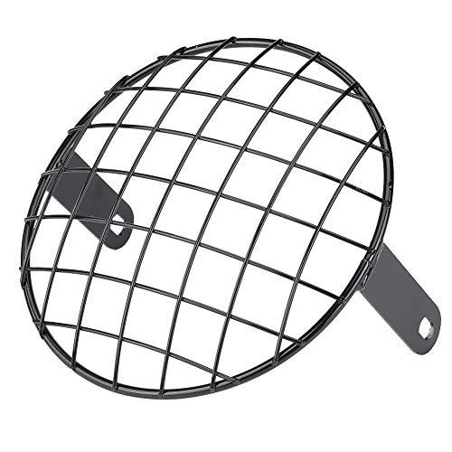GOTOTOP Motocicleta 7'Faro Mesh Grill Montaje Lateral Universal Cover Mask para Cafe Racer (Black)