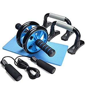 Odoland 4-in-1 AB Wheel Roller Kit AB Roller Pro with Push-Up Bar, Jump Rope and Knee Pad – Perfect Abdominal Core…