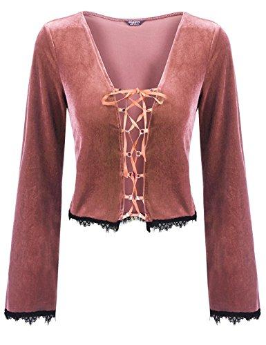 Zeagoo Womens Vintage Velvet Jacket Long Sleeve Cardigan Lace up Shrug Bolero,Rose Gold,Medium