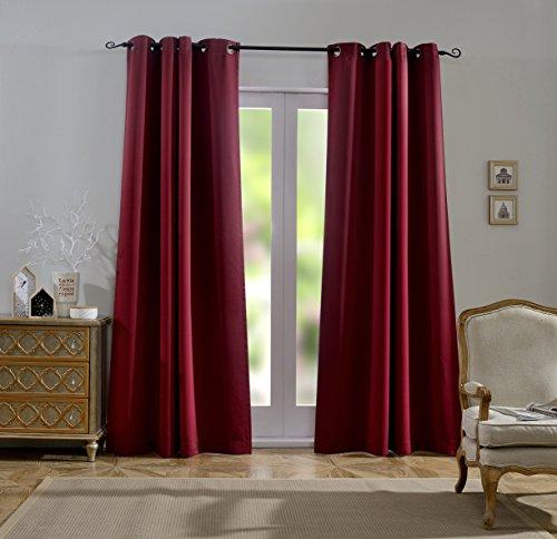 MYSKY HOME Dust Oil Waterproof Fire Flame Retardant Thermal Insulated Grommet Top Blackout Curtains for Living Room, 54 by 95 inch, Burgundy (1 Panel)