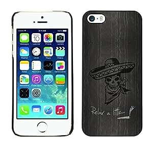 Be Good Phone Accessory // Dura Cáscara cubierta Protectora Caso Carcasa Funda de Protección para Apple Iphone 5 / 5S // 420 Marijuana Sombrero Smoking Skeleton Skull Relax