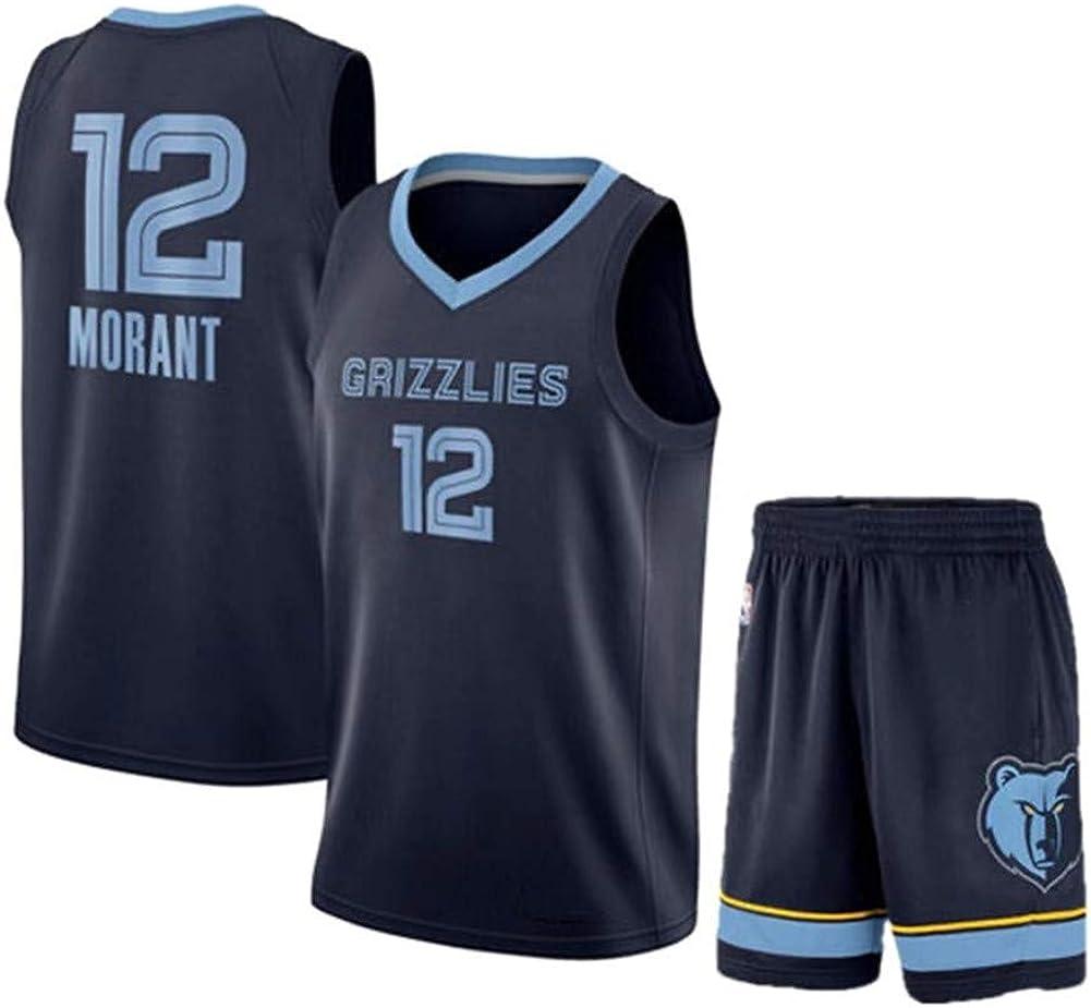 EDFG Maillot Memphis Grizzlies 12 Icon Edition SW Swingman versi/ón para Jugador Conjunto de Maillot de Baloncesto Transpirable de Fibra de poli/éster Fan Ja Morant