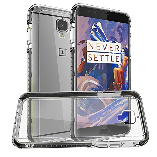 Price comparison product image OnePlus 3T / OnePlus 3 Case,  Orzly Fusion Bumper Case Cover Shell for OnePlus THREE (Original 2016 Model & 3T Version) Protective Hard Cover with Impact Absorbing BLACK Rubber Rim & Clear Back Panel