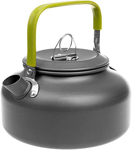 Outdoor 1.1L Portable Aluminum Water Kettle Camping Hiking Teapot Coffee Pot