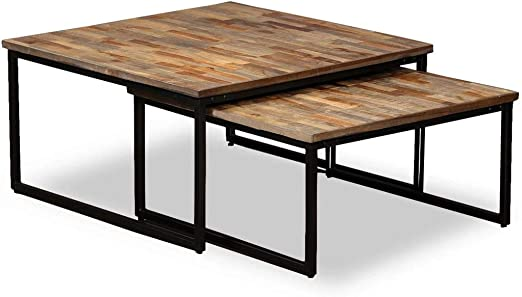 Xingshuoonline Mesa Baja Gigogne 2 pcs en Teca Maciza de recuperación 65 x 65 x 33 cm (L x l x h) utilisées Aussi como mesas de Auxiliar: Amazon.es: Jardín