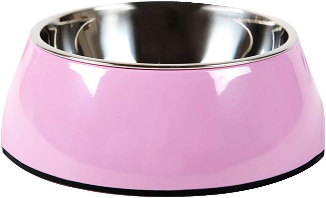 Manda Ocean Pet Bowls Stainless Steel Dog Cat Pet Bowl Universal Pet Water and Food Bowls 4 Sizes and 5 Colors Available (S, Pink)