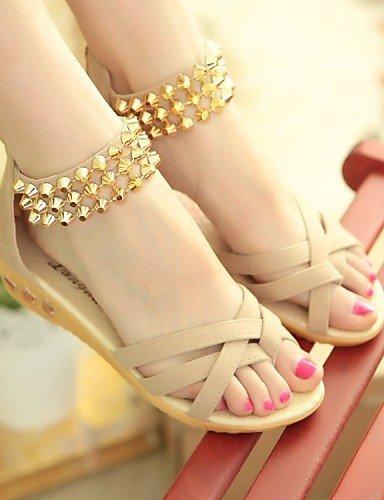 ShangYi Sandaletten für Damen Damenschuhe - Sandalen - Kleid / Lässig - Vlies - Flacher Absatz - Komfort / Vorne offener Schuh - Schwarz / Blau / Rot / Beige Black