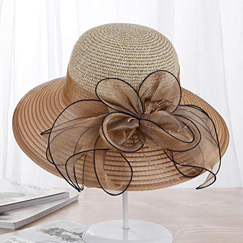 URNGLB Large Wide Brim Organza Flower Sun Ladies Kentucky Derby Wedding Party Dress Floppy Summer Hats for Women 2