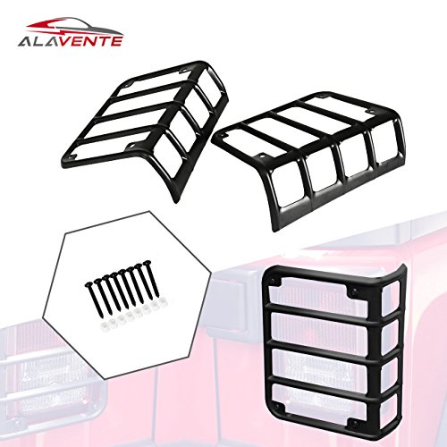 ALAVENTE Steel Tail Lights Guards Rear Euro Lamp Cover Protector for 2007-2017 Jeep Wrangler JK/JKU (Pair, Black)