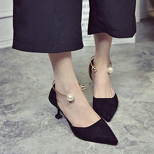 Eu39 Señaló SHOESHAOGE Satin Pale Heeled Y De Con Pink Grosor Hueco Zapata EU37 5Cm Pearl Único Sandals Mujer Zapatos De High 4rq4fHx