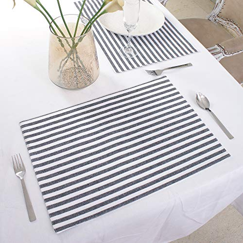 Cotton Placemats, Set Of 4, Double Sided Placemats (13 x 19 Inches), Black & White Stripe - Perfect For Spring, Summer, Holidays - Christmas And For Everyday Use