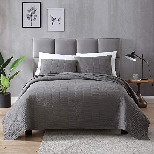 EXQ Home Quilt Set Full/Queen Size Grey 3 Piece,Lightweight Microfiber Coverlet Modern Style Stitched Quilt Pattern Bedspread Set