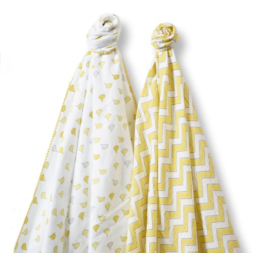 SwaddleDesigns SwaddleDuo, Set of 2 Swaddling Blankets, Cotton Marquisette + Premium Cotton Flannel, Yellow Chic Chevron Duo