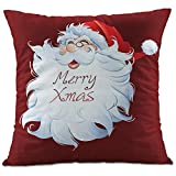 Hangood Flannel Linen Throw Pillow Case Cushion Covers Cover Xmas Christmas Santa Claus 18 X 18 inches