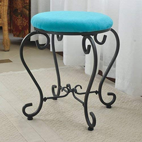 International Caravan Round Iron Vanity Stool, Aqua Blue