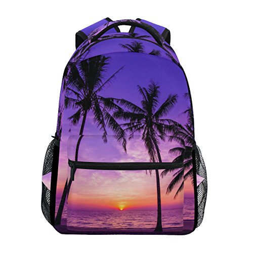 TropicalLife Hawaiian Palm Tree Ocean Theme Backpacks Bookbag Shoulder Backpack Hiking Travel Daypack Casual Bags (Palm With Trees Backpack)