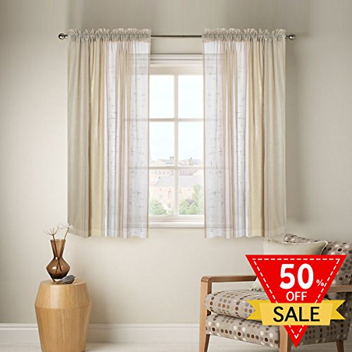 FlamingoP Linen Sheer Curtains with Two bonus tie-back for Bedroom, Back Tab/Rod Pocket, W52 inch X L63 inch, Warm Taupe (Set of 2 Panels) (Rod Pocket Panel Set)