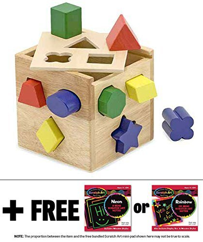 Wooden Shape Sorting Cube Classic Toy + FREE Melissa & Doug Scratch Art Mini-Pad Bundle (Social Studies Puzzles)